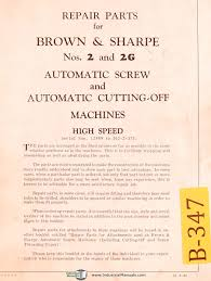 brown u0026 sharpe no 2 u0026 2g automatic machine cuttin off
