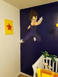 my son kingston s vegeta themed nursery album on imgur custom printed vegeta wall vinyl and a 12x16 canvas painting of the one star dragonball with a clock kit made by me