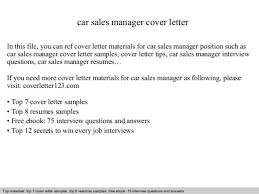 Sales Manager Cover Letter by Car Sales Manager Cover Letter