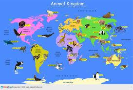 Animal World Map by Animal Kingdom Map Printed On Vinyl 137 X 97 Cm Amazon In