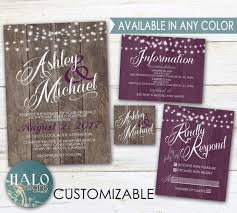 Regency Wedding Invitations Purple Rustic Wedding Invitations Plum Eggplant Purple Wood