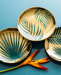 paradise plates gold botanical s 4 tableware and home decor
