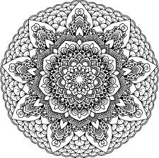 clipart of a black and white coloring page floral mandala