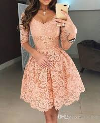 2018 cheap evening party lace dress pink sleeve