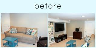 How To Design A Narrow Living Room a big basement living room makeover