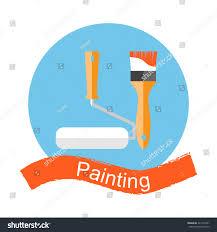 brush paint roller painting repairing restoration stock vector
