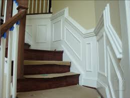 gorgeous interior stair decoration using white wainscot chair rail