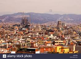 barcelona city view aerial view of barcelona city with sagrada familia in background