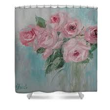 Shabby Chic Curtains For Sale by Shabby Chic Pink Roses Oil Palette Knife Painting Shower Curtain