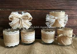 wedding favor candles 6 rustic naturlap burlap and lace covered votive tea candles