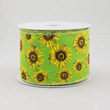 sunflower ribbon 2 5 lime green faux burlap sunflower ribbon 10 yards q715340