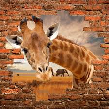 stickers trompe oeil mural sticker mural trompe l u0027oeil girafe art déco stickers