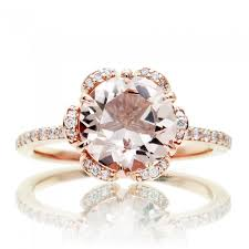 gold and morganite ring ring 14k gold flower halo diamond engagement ring 8mm peachy pink