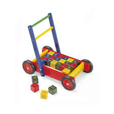 traditional wooden walker with abc blocks by john crane