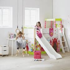 flexa mid high bed with straight ladder and slide white kids