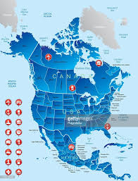 Map Of Nirth America by Bluecolored Map Of North American Divided And Labeled Vector Art