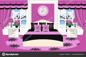 Schlafzimmer Lampe Nachttisch Innenraum Vektor Illustration Zimmer Mit Möbel Bett Sofa