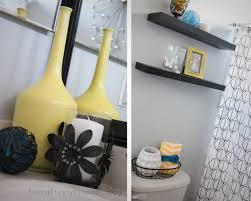 interior top notch image of yellow and white bathroom decoration