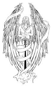 black ink spiritual guardian with big wings and sword