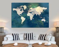 Map Home Decor Map Canvas Print Etsy