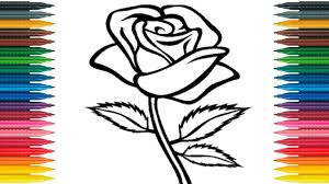 how to draw rose for kids draw rose flower learn colors with