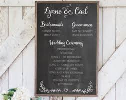 wedding program chalkboard wedding program wedding schedule rustic wedding