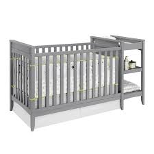 2 in 1 convertible crib and changing table combo set in gray da6790