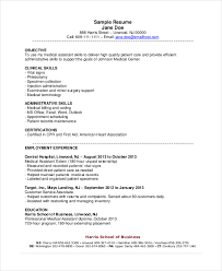 Sample Of Nursing Assistant Resume by Sample Medical Assistant Resume 18 Sample Resume Objectives