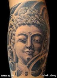 grey ink buddha head tattoo design tattoos book