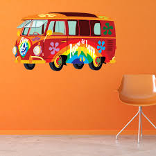 red vw campervan wall sticker hippy peace cars wall decal fun red vw campervan wall sticker hippy peace cars wall decal fun transport decor