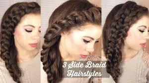 3 side braid hairstyles tutorial youtube