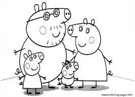 family peppa pig coloring pages printable