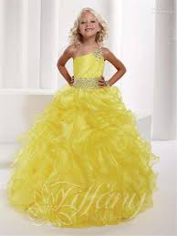 2017 new kids beauty pageant dresses yellow color one shoulder