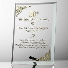 wedding anniversary plaques 50th wedding anniversary glass plaque