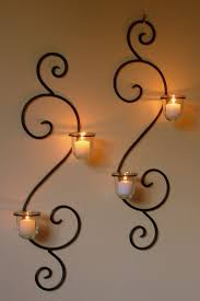 Breathtaking Large Wrought Iron Wall Decor Wall Mounted Long Holder Using Wrought Iron Candle Holders As