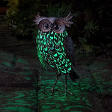 smart garden owl metal animal patio solar light lighting