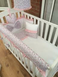 Cot Bedding Set Ditsy Floral White With Pink Trim Cot Bed Set India Baby