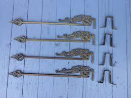 4 antique vintage art deco curtain rods swing arm extendable