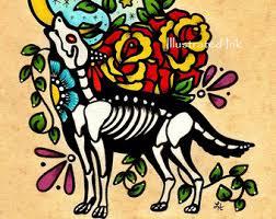 day of the dead deer fawn dia de los muertos print 5 x 7