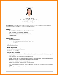 resume objective statement exles receptionist 4 job resume objective exles character refence