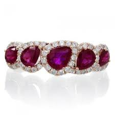 ruby band five pear cut ruby ring diamond anniversary band gold