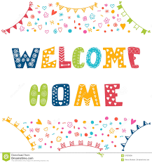 welcome home text with colorful design elements stock vector