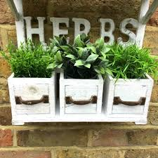 shabby chic vintage style wooden wall garden planter pots herb