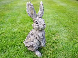 garden wood effect rabbit ornament decoration 4662
