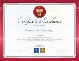 Free Certificate Of Excellence Template Certificate Of Excellence Template With Border Stock Vector