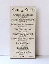 Family Wood Sign Home Decor Scripture Family Rules Wood Sign Farmhouse Style Religious Home