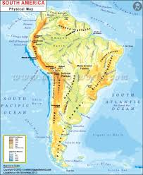 South America Physical Map Physical Map Of South America Rivers