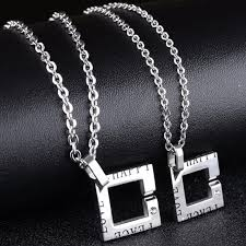 titanium black necklace images Square personalized cute titanium alloy fashion necklace for jpg
