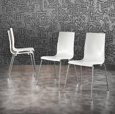 Esszimmerstuhl Venezia Weiß Polypropylen Stuhl Aus Verchromtem Metall Beine Idfdesign