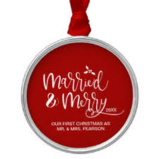 year married ornaments keepsake ornaments zazzle